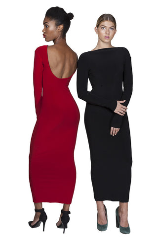 MUNRO Midi Dress -reversible- red/blk