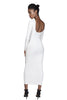 White bodycon maxi dress with scoop back and long sleeves