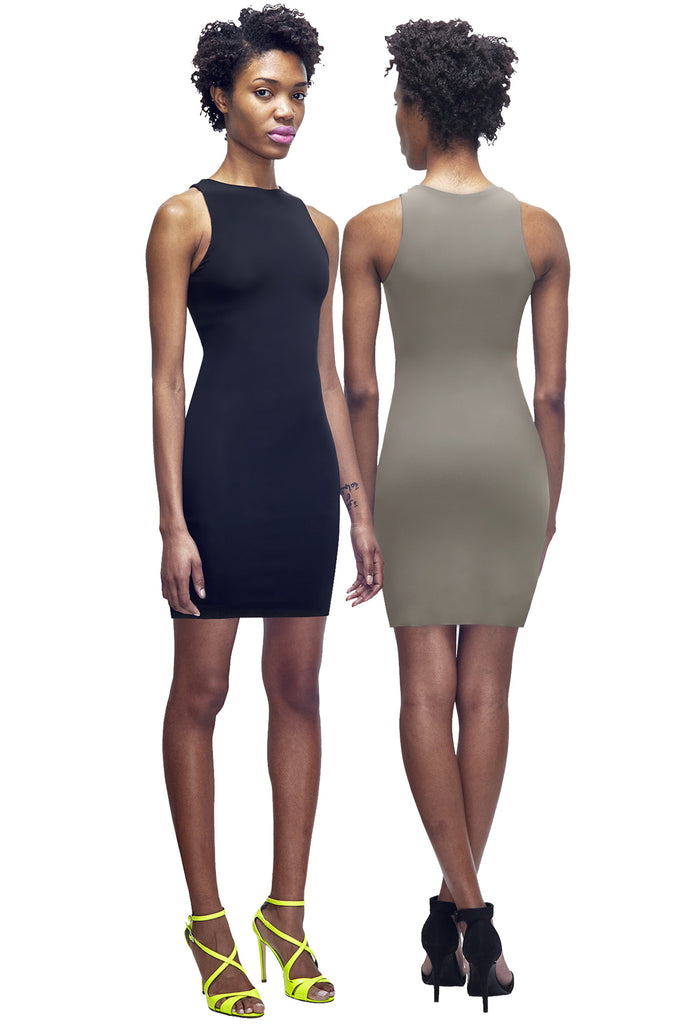 Black / taupe reversible sleeveless bodycon mini dress