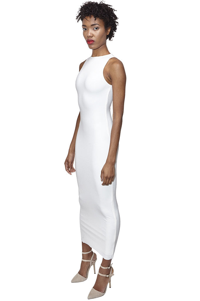 White sleeveless bodycon midi dress
