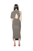 Asymmetrical Midi Dress -taupe-