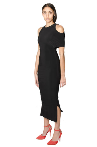 Asymmetrical Midi Dress -blk-