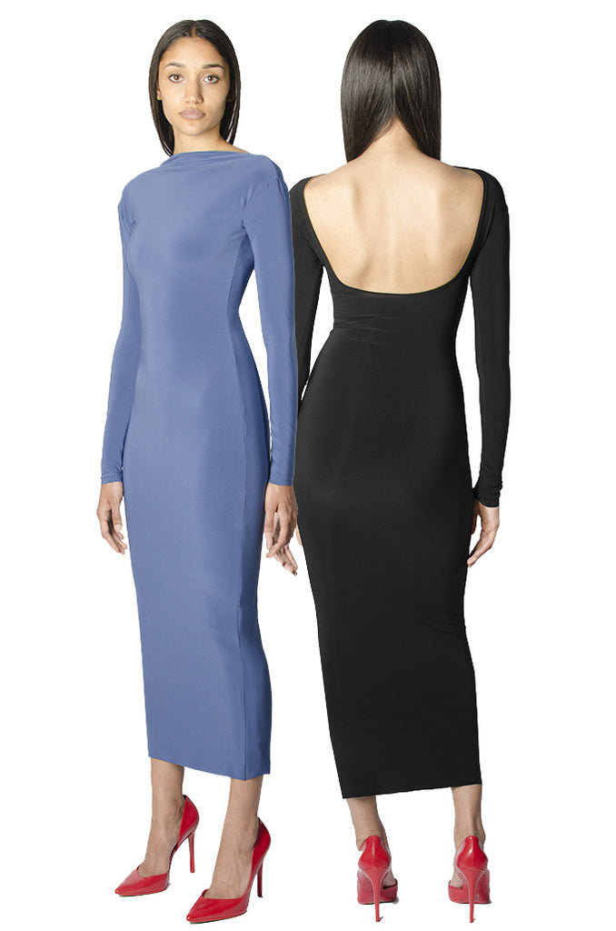 Blue / black bodycon reversible midi dress with scoop back and long sleeves