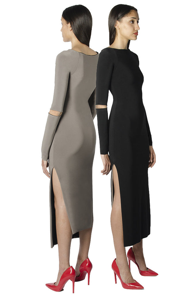 Black / taupe reversible bodycon longsleeve midi dress with elbow cutouts and side slits