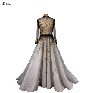 yybride Long Sleeves A-line High Neck Evening Dresses Hand Sewing Beading Crystals - florentclothing store