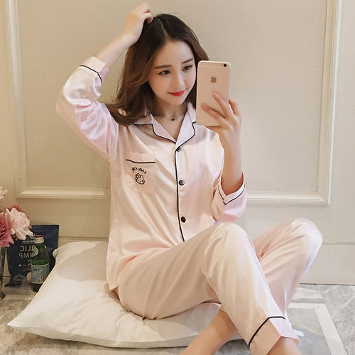 ladies pajamas for women's silk pijamas meryl satin sleepwear for girl female suit home - #FlorentClothingStore