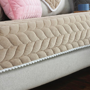 Thicken Plush Fabric Sofa Cover Lace Slip Resistant Slipcover Seat European Style - florentclothing store