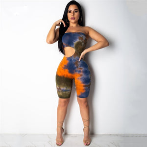 New Strapless Off Shoulder Jumpsuit Women Tie Dyeing Sexy Bandeau Bodysuit - florentclothing store