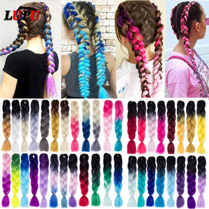 LUPU 24inch Long Synthetic Crochet Jumbo Braid Ombre Pink Purple Blue Blonde - florentclothing store