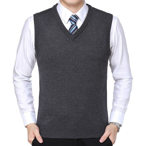 New 2019 Knitted Pullover Male V-Neck Sleeveless Formal Business Homme Casual - #FlorentClothingStore