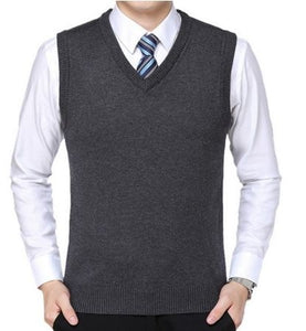 New 2019 Knitted Pullover Male V-Neck Sleeveless Formal Business Homme Casual - florentclothing store