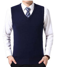 Load image into Gallery viewer, New 2019 Knitted Pullover Male V-Neck Sleeveless Formal Business Homme Casual - florentclothing store