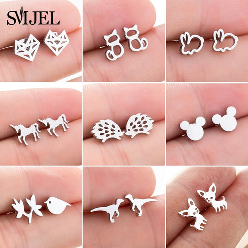 SMJEL Stainless Steel Mickey Stud Earrings for Women Girls Minimalist Fox Cat - florentclothing store