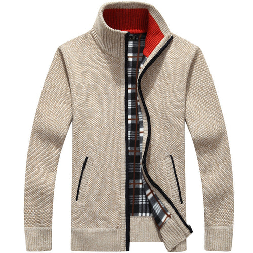 Winter Thick Men's Knitted Sweater Coat Off White Long Sleeve Cardigan Fleece Full Zip Male Causal - florentclothing store