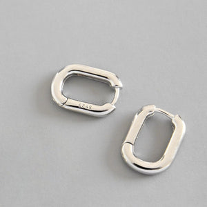 XIYANIKE Minimalist 925 Sterling Silver Stud Earrings Vintage Geometric Ellipse - florentclothing store