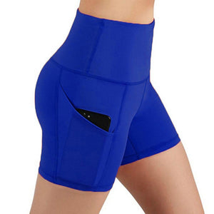 Women High Waist Out Pocket Yoga Short Running Athletic Yoga Shorts Pants - florentclothing store