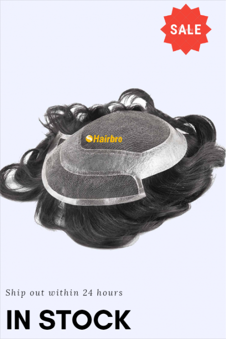 French Lace Center and Front Poly Around Stock Hair Replacement System For Men