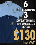 6 x Polo Tops, 3 X Sweatshirts with Embroidered LOGO