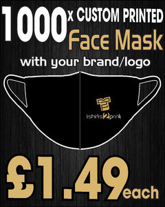 1000 x Facemasks with CUSTOM PRINTED LOGO
