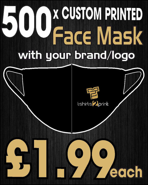 500 x Facemasks with CUSTOM PRINTED LOGO