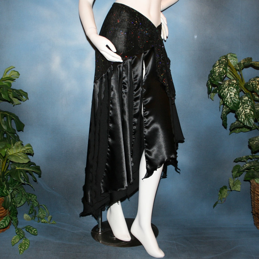 Crystal's Creations Black ballroom skirt created with a beautifully patterned glitter slinky sarong hip sash piece that flairs out to yards of black satin panels, would pair beautifully with a black body suit or one could be custom created for an extra fee.