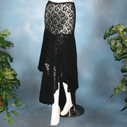 Crystal's Creations Black lace Latin/rhythm skirt, 2 tier style, was created with yards of back stretch lace, with 2 full circles cut with sides higher, back longer on a hip base.