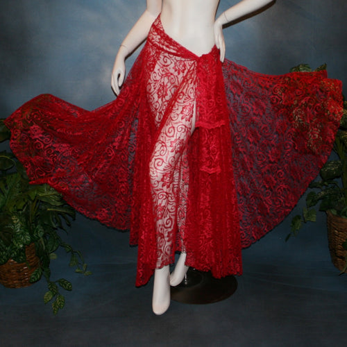 Crystal's Creations red lace wrap ballroom skirt