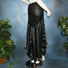 Load image into Gallery viewer, Crystal's Creations back view of Black ballroom skirt created with a beautifully patterned glitter slinky sarong hip sash piece that flairs out to yards of black satin panels, would pair beautifully with a black body suit or one could be custom created for an extra fee.