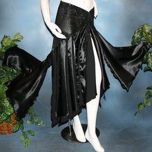 Load image into Gallery viewer, Black ballroom skirt created with a beautifully patterned glitter slinky sarong hip sash piece that flairs out to yards of black satin panels, would pair beautifully with a black body suit or one could be custom created for an extra fee.