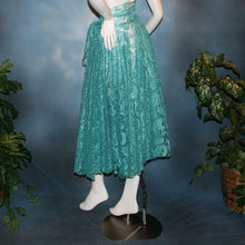 Load image into Gallery viewer, Crystal's Creations back view of aqua lace ballroom skirt