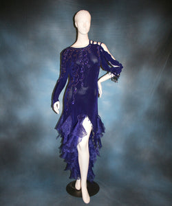 Crystal's Creations indigo blue Latin dress created of luxurious solid slinky with extensive Swarovski rhinestone work & hand beading