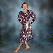 Load image into Gallery viewer, side view of Abstract print bodysuit with long sleeves & Latin/rhythm dance skirt in black, white & hot pink abstract print lycra fabric, great for any ballroom dance, ballroom teachers or practice…or embellish with Swarovski work for show or competition!  worn once.