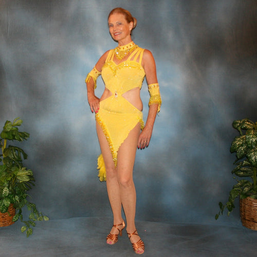 Crystal's Creations Yellow Latin/rhythm dress created of yellow glitter slinky features hand beaded fringe, CAB Swarovski rhinestone work & a touch of turkey feathers.