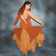 Load image into Gallery viewer, back view bronze ballroom dress created in glitter slinky & glitter chiffon