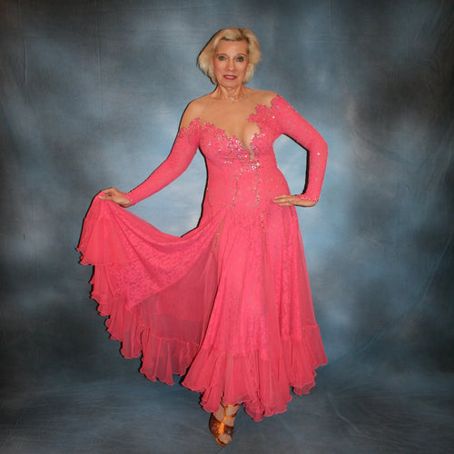 Crystal's Creations Gorgeous salmon pink ballroom dance dress was created from salmon pink stretch lace on nude illusion base with yards & yards of salmon pink chiffon insets & flounces …