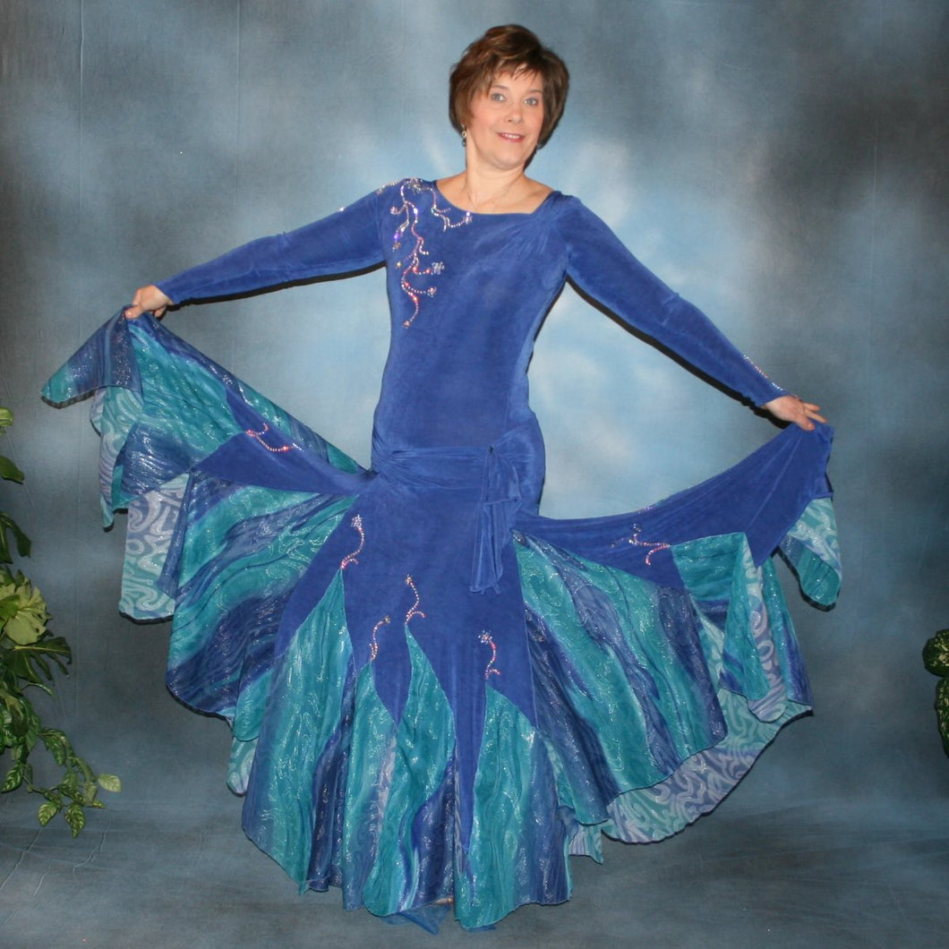 Crystal's Creations Blue ballroom dress created in sea blue luxurious solid slinky & iridescent shades of blue print chiffon is a converta ballroom dress