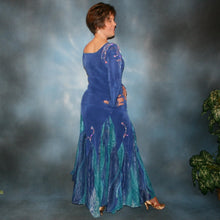 Load image into Gallery viewer, Crystal's Creations back view of Blue ballroom dress created in sea blue luxurious solid slinky & iridescent shades of blue print chiffon is a converta ballroom dress