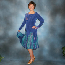 Load image into Gallery viewer, Crystal's Creations Blue Latin/rhythm/ballroom dress created in sea blue luxurious solid slinky & iridescent shades of blue print chiffon is a converta ballroom dress