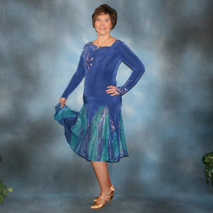 Crystal's Creations Blue Latin/rhythm/ballroom dress created in sea blue luxurious solid slinky & iridescent shades of blue print chiffon is a converta ballroom dress