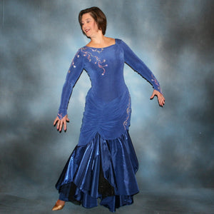 Crystal's Creations Blue Tango/ballroom dress created in sea blue luxurious solid slinky & iridescent shades of blue print chiffon is a converta ballroom dress
