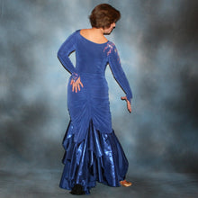 Load image into Gallery viewer, Crystal's Creations back view of Blue tango/ballroom dress created in sea blue luxurious solid slinky & iridescent shades of blue print chiffon is a converta ballroom dress
