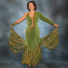 Load image into Gallery viewer, Olive green ballroom dress created of luxurious slinky