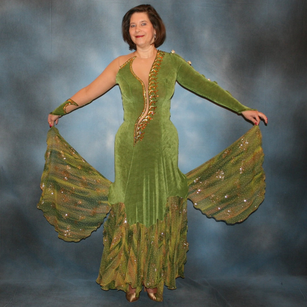 Olive green ballroom dress created of luxurious slinky