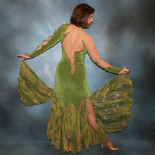 Load image into Gallery viewer, back view of olive green ballroom dress created of luxurious slinky