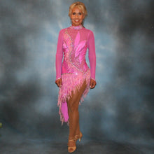Load image into Gallery viewer, Crystal's Creations Orchid Latin/rhythm dress created in orchid lycra on an orchid sheer mesh base with detailed applique work, embellished with Swarovski rhinestone work in crystal vitrail light, along with orchid feather fringe.