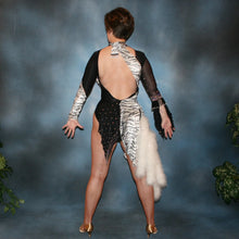Load image into Gallery viewer, back view of Latin/rhythm dance dress created of black and white tiger print panne velvet on black sheer glissenette base, embellished with Aurora Swarovski rhinestones, hand beading, & a fluff of white marabou feathers.