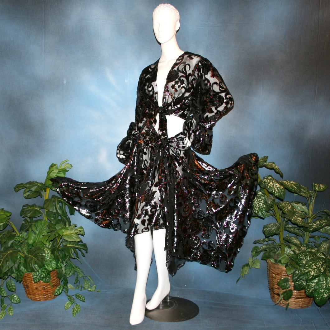 Crystal's Creations Wrap style panel ballroom skirt was created of black, fuchsia, & emerald green metallic burnout velvet
