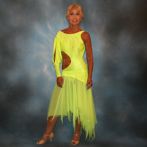 Crystal's Creations florescent yellow theatrical ballroom show dance dress