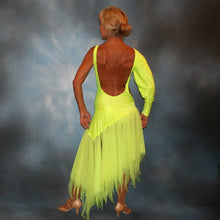 Load image into Gallery viewer, Crystal's Creations back view of florescent yellow theatrical ballroom show dance dress