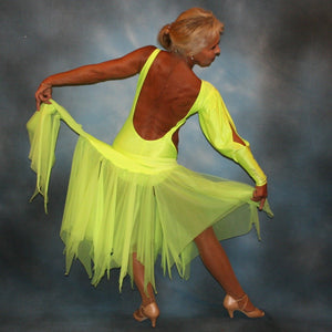 Crystal's Creations back view of florescent yellow theatrical ballroom show dance dress